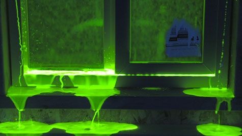 A fluorescein dye test reveals where these window assemblies will fail, and under what conditions.