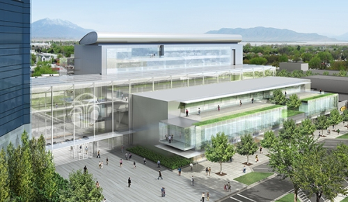 "This architectural rendering of the Nu Skin Innovation Center shows the ""penthouse airfoil"" structure atop the building. The airfoil holds the building's HVAC equipment."
