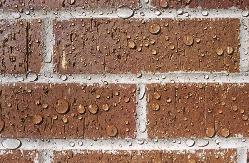 Unable to penetrate, water beads up on  masonry treated with PROSOCO's penetrating protective treatment Sure Klean Weather Seal Siloxane PD. By keeping water out, you keep out water-related problems -- like destructive freeze-thaw cycyling