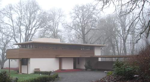 """Set amid the mists and trees of  its 2nd home in Oregon Garden, Frank Lloyd Wright's """"Usonian"""" Gordon House was nearly demolished in 2001. photo by Gene Bollinger."""