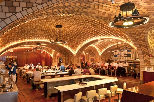 Patrons enjoy the casual atmosphere at Grand Central Terminal's famous Oyster Bar Restaurant.