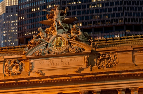 The famous Tiffany clock crowns Grand Central Terminal.