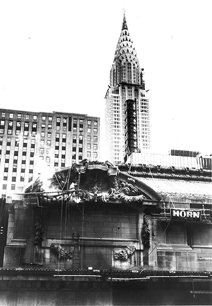 Armed with PROSOCO products and procedures, HORN Waterproofing does battle with the black coating of carbon soiling and staining on Grand Central Terminal, 1980. PROSOCO photo