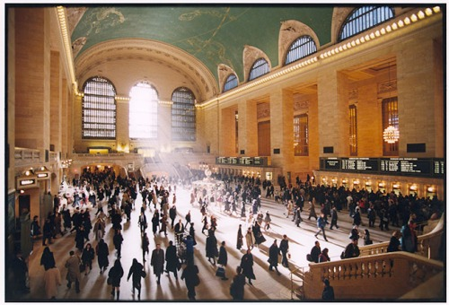 Commuters hurry for their trains during the morning rush hour at Grand Central Terminal.