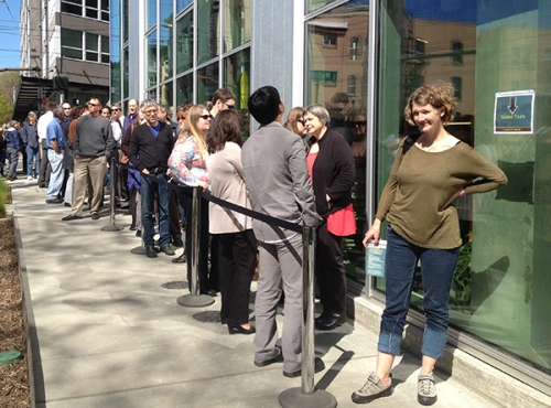 Visitors line up for tours of the Bullitt Center during opening day, April 22. John Young photo