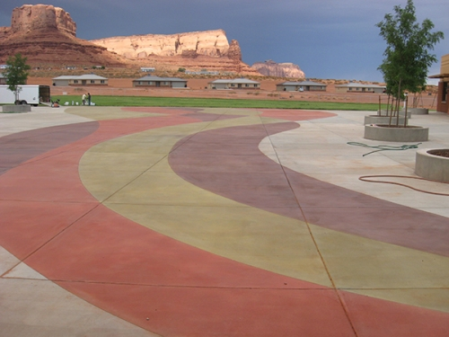 UV-stable color hardener/densifiers outside the elementary school in Monument Valley, Utah. Scot Zimmerman photo