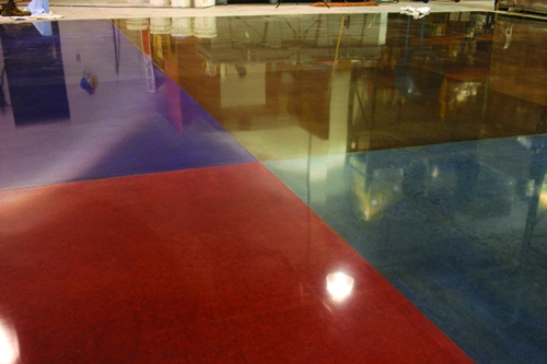 Color offers almost gemlike effects when used with concrete polishing.