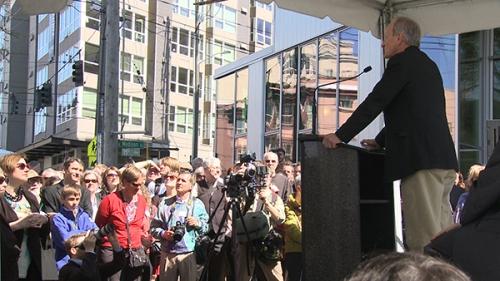 Bullitt Foundation President Denis Hayes addresses media and guests during opening day ceremonies at Seattle's Bullitt Center April 22.