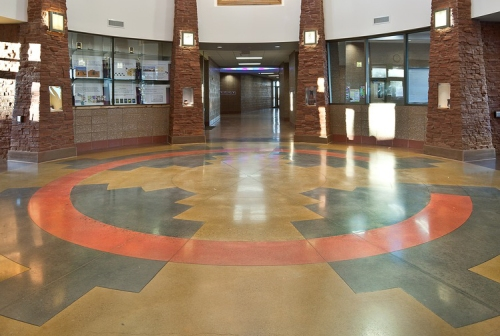 Water-based colors were used to create a Navajo Wedding Basket design in the entryway of this elementary school in Monument Valley, Utah. Scot Zimmerman photo