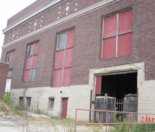 Union Station Power House facility,front entrance, shortly before restoration begins, 2009. JE Dunn photo