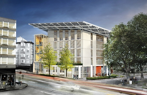 "This architectural rendering shows the net-zero Bullitt Center, Seattle. The Bullitt Center has an environmentally friendly STPE-based air and waterproof flashing system to help it meet the stringent energy conservation standards required to be certified as a ""Living Building."" Rendering courtesy of Miller-Hull Partnership"