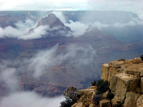 The Grand Canyon, Arizona, 277 miles long, 18 miles wide,  6,000 feet deep, carved through the rock of the Colorado Plateau. By water. -- photo courtesy Grand Canyon National Park and ace-clipart.com.