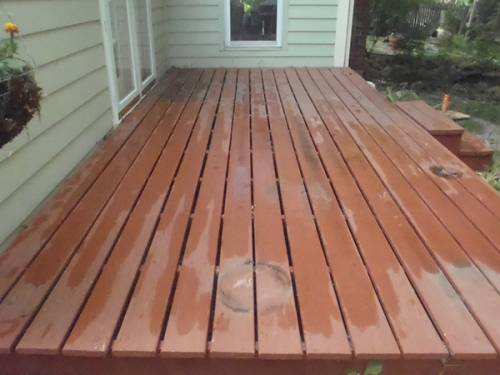 A brief rain shower wetted our back deck yesterday evening, shortly before the beginning of cleaning operations.