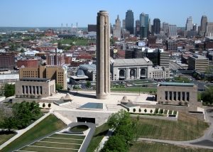 The Liberty Memorial overlooks downtown Kansas City.