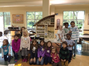 "Kids who attended the Bee Hotel Habitat event rolled up 1,400 pieces of paper to provide ""rooms"" for solitary bees."