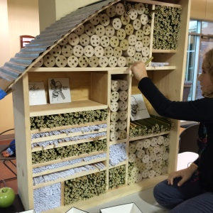 Jane Huesemann, principal at Clark | Huesemann architects, grew bamboo in her yard, harvested it and cut it to the correct length for the Bee Hotel.