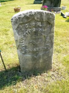 Cpl. Sylvester Blaney's headstone before cleaning with ReVive.