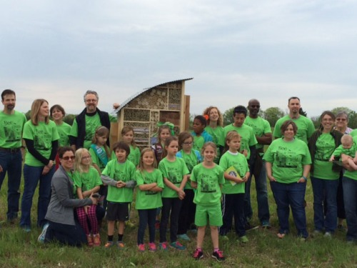 PROSOCO staff and their children, girl scouts, KU Biological Survey staff and volunteers, and staff from Clark | Huesemann architects attended an official